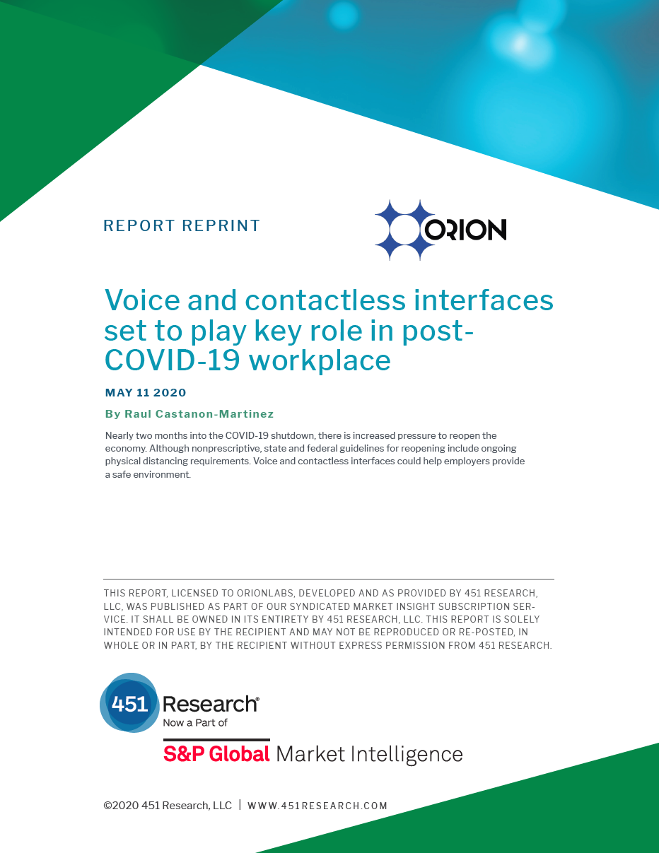 451 Research - Voice and contactless interfaces - Orion Labs - Report reprint